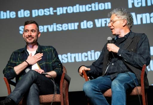 Xavier Legrand (L) - here with moderator Jon Amiel at the Colcoa French Film Festival Day -- said his debut feature-length movie recounts the custody battle of the abused wife and a menacing husband