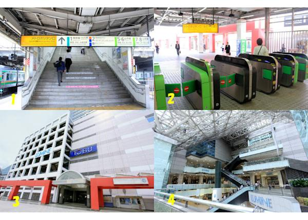 ↑1. Take the stairs at the southern end of the JR platform. 2. Leave via JR's Metropolitan ticket gate. 3. Lumine Ikebukuro in front of the ticket gate 4. Metropolitan Plaza