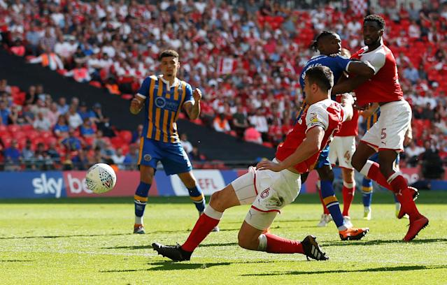 "Soccer Football - League One Play-Off Final - Rotherham United v Shrewsbury Town - Wembley Stadium, London, Britain - May 27, 2018 Rotherham's Richard Wood scores their second goal Action Images/Carl Recine EDITORIAL USE ONLY. No use with unauthorized audio, video, data, fixture lists, club/league logos or ""live"" services. Online in-match use limited to 75 images, no video emulation. No use in betting, games or single club/league/player publications. Please contact your account representative for further details."