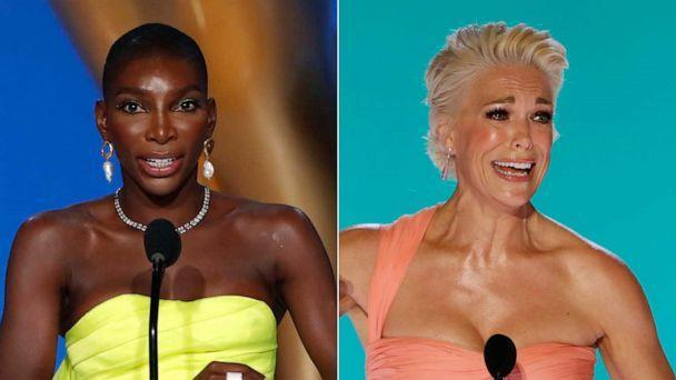 PHOTO: Michaela Coel and Hanna Waddingham accepts their awards at the 73rd Emmy Awards on Sept. 19, 2021, in Los Angeles. (Cliff Lipson/CBS via Getty Images)