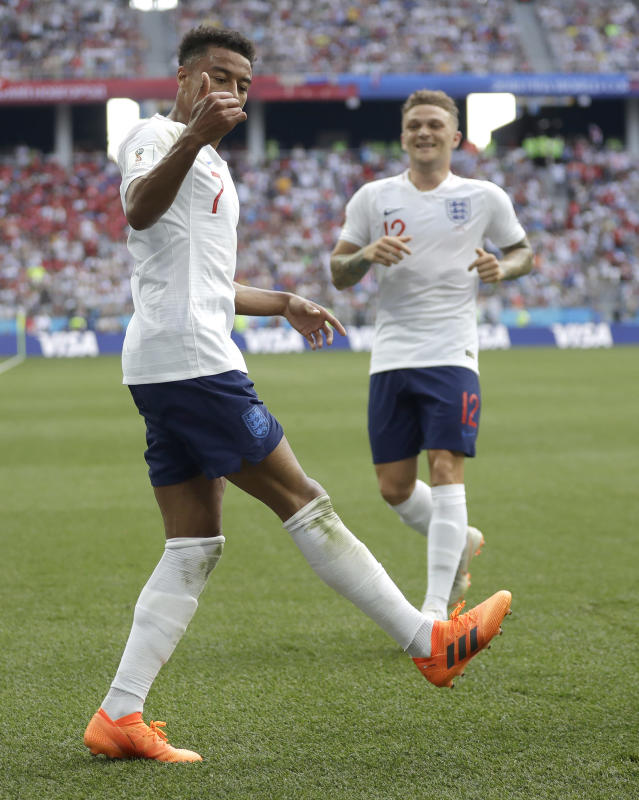 <p>England's Jesse Lingard reacts </p>