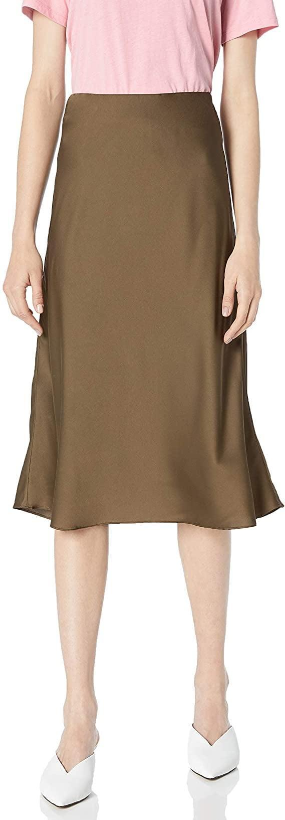 <p>The chocolate-brown shade of this <span>The Drop Maya Silky Slip Skirt</span> ($45) is great for September and beyond.</p>