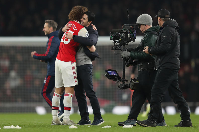 David Luiz and Mikel Arteta at full time. (Credit: Getty Images)