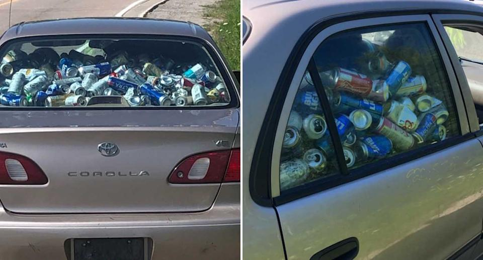 A Toyota Corolla is pictured filled with drink cans.