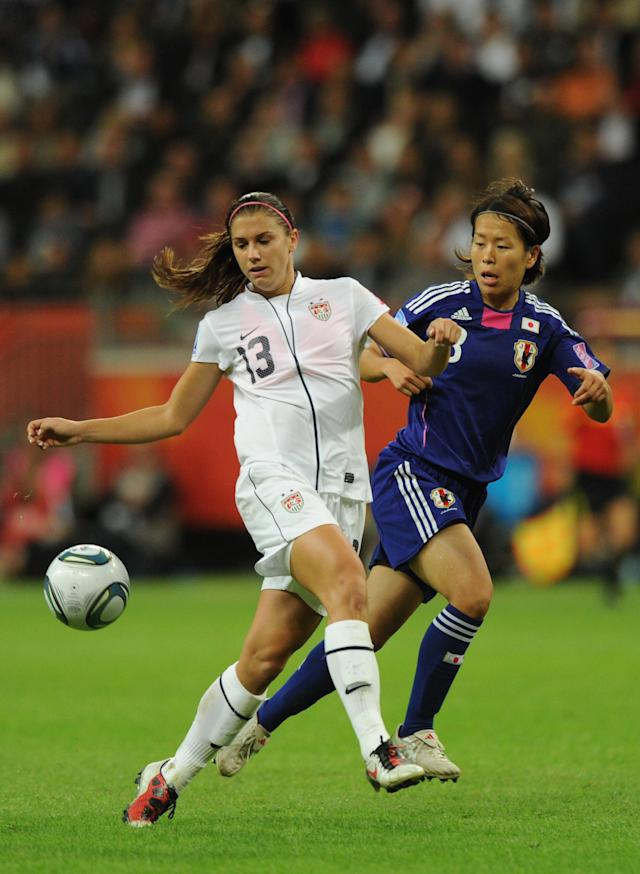 USA's striker Alex Morgan (L) and Japan's midfielder Aya Miyama vie for the ball during the FIFA Women's Football World Cup final match Japan vs USA on July 17, 2011 in Frankfurt am Main, western Germany. Japan won 3-1 in a penalty shoot-out after the final had finished 2-2 following extra-time. AFP PHOTO / CHRISTOF STACHE (Photo credit should read CHRISTOF STACHE/AFP/Getty Images)