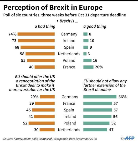 Results of a poll in six European countries on perceptions of Brexit. (AFP Photo/Alain BOMMENEL)