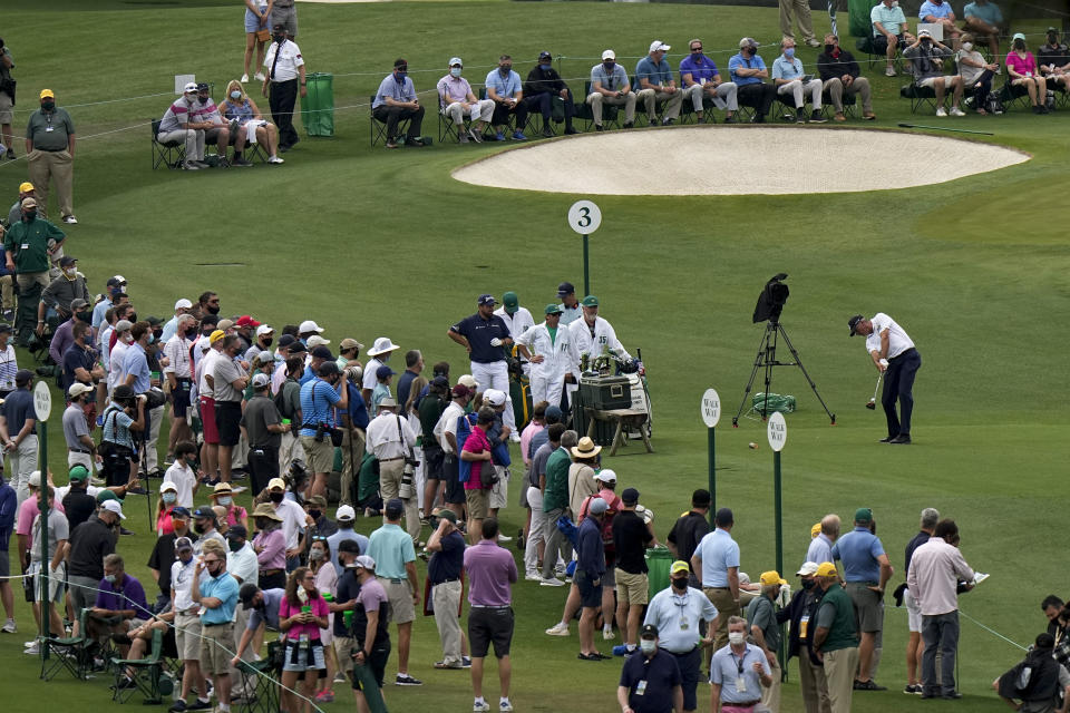 Matt Kuchar tees off on the third hole during the second round of the Masters golf tournament on Friday, April 9, 2021, in Augusta, Ga. (AP Photo/Matt Slocum)