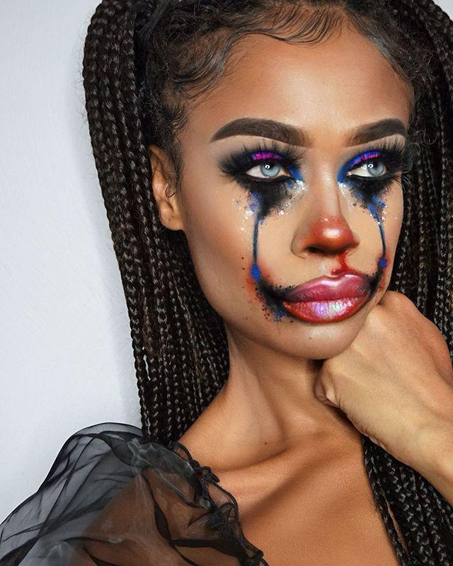"""<p>I wish I looked this pretty when I cried. To make your smudged eye makeup look less like a hot mess and more like it was cute and intentional, <strong>press <a href=""""https://go.redirectingat.com?id=74968X1596630&url=https%3A%2F%2Fwww.ulta.com%2Fdiamond-dazzlers-loose-foil-pigment%3FproductId%3Dpimprod2015142&sref=https%3A%2F%2Fwww.cosmopolitan.com%2Fstyle-beauty%2Fbeauty%2Fg33247158%2Fcute-clown-halloween-makeup-tutorials%2F"""" rel=""""nofollow noopener"""" target=""""_blank"""" data-ylk=""""slk:loose glitter"""" class=""""link rapid-noclick-resp"""">loose glitter</a> flecks over the top of your <a href=""""https://www.cosmopolitan.com/style-beauty/beauty/how-to/g3016/smoky-eye-how-to/"""" rel=""""nofollow noopener"""" target=""""_blank"""" data-ylk=""""slk:smoky eye"""" class=""""link rapid-noclick-resp"""">smoky eye</a> </strong>and smudged under-eye triangles. Use <a href=""""https://go.redirectingat.com?id=74968X1596630&url=https%3A%2F%2Fwww.ulta.com%2Fmetallic-lip-whip%3FproductId%3Dpimprod2001356&sref=https%3A%2F%2Fwww.cosmopolitan.com%2Fstyle-beauty%2Fbeauty%2Fg33247158%2Fcute-clown-halloween-makeup-tutorials%2F"""" rel=""""nofollow noopener"""" target=""""_blank"""" data-ylk=""""slk:metallic lipstick"""" class=""""link rapid-noclick-resp"""">metallic lipstick</a> to really lean into the glitter theme.</p><p><a href=""""https://www.instagram.com/p/B3cEiq1p7Wd/?utm_source=ig_embed&utm_campaign=loading"""" rel=""""nofollow noopener"""" target=""""_blank"""" data-ylk=""""slk:See the original post on Instagram"""" class=""""link rapid-noclick-resp"""">See the original post on Instagram</a></p>"""