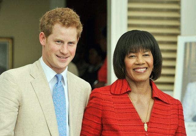 The Duke and Sussex with the then Prime Minister of Jamaica Portia Simpson Miller in 2010, during a visit to the Caribbean country. John Stillwell/PA Wire
