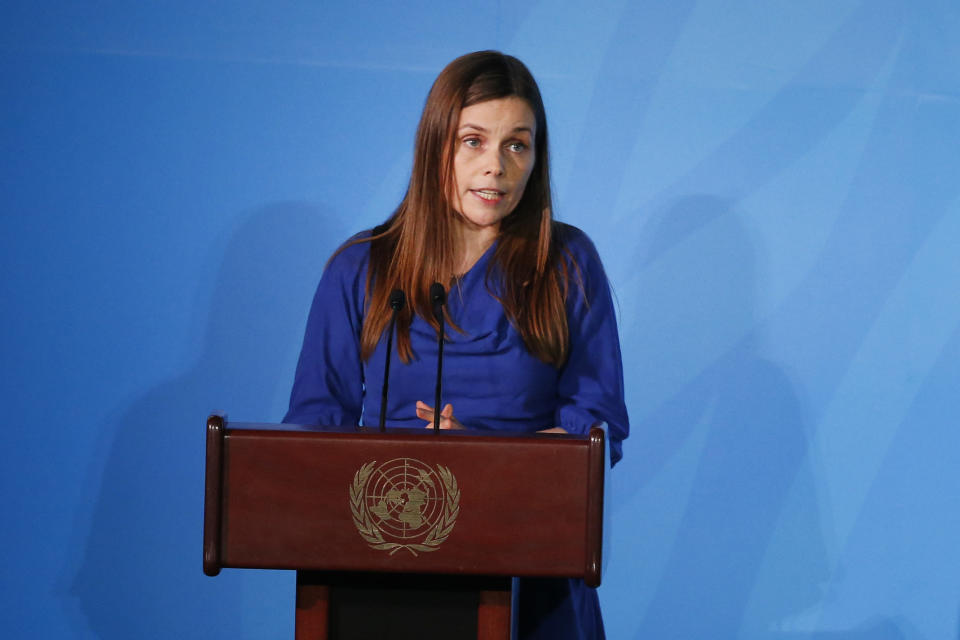 Iceland's Prime Minister Katrin Jakobsdottir addresses the Climate Action Summit in the United Nations General Assembly, at U.N. headquarters, Monday, Sept. 23, 2019. (AP Photo/Jason DeCrow)