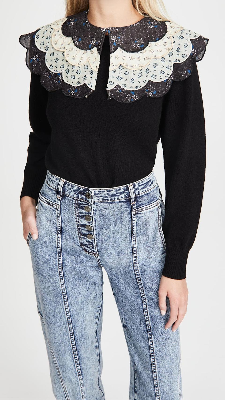<p>How major is the collar on this <span>Sea Ditsy Mix Sweater</span> ($385)?</p>