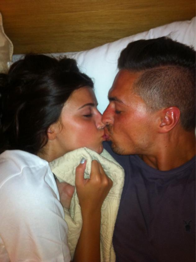 Celebrity photos: TOWIE stars, Lucy Mecklenburgh and Mario Falcone are rumoured to have got engaged on a recent trip to Marbella. They're yet to address the rumours, but did put on a massive Public Display of Affection on Twitter, posting this pic of a big smooch.