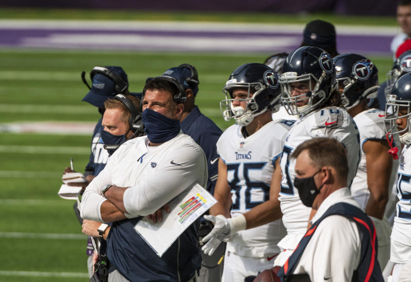 MINNEAPOLIS, MN - SEPTEMBER 27: Tennessee Titans head coach Mike Vrabel stands on the sidelines during the first quarter of the game against the Minnesota Vikings at U.S. Bank Stadium on September 27, 2020 in Minneapolis, Minnesota. (Photo by Stephen Maturen/Getty Images)