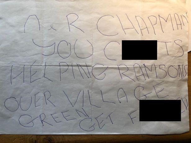 Abusive notes were sent between villagers over the green space. (SWNS)