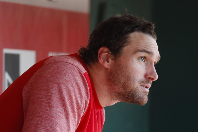 Washington Nationals second baseman Daniel Murphy sits in the dugout in the eighth inning of a baseball game against the Cincinnati Reds, Sunday, July 16, 2017, in Cincinnati. (AP Photo/John Minchillo)