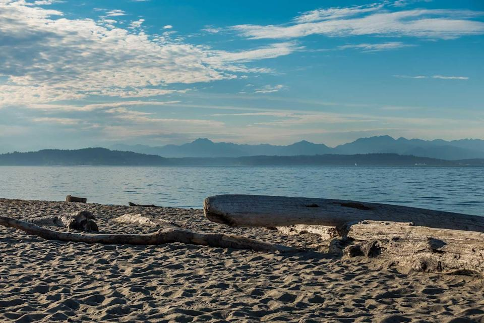 The Cascade Mountains as seen from Alki Beach in West Seattle