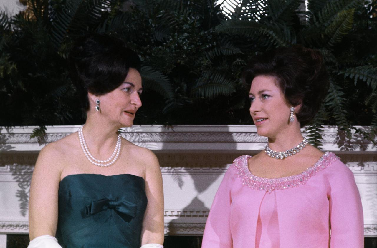 """<p>Princess Margaret pictured with First Lady Claudia Alta """"Lady Bird"""" Johnson in the Queen's Room at the White House.</p>"""