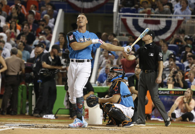New York Yankees' Aaron Judge competing in the MLB baseball All-Star Home Run Derby last July in Miami. (AP)