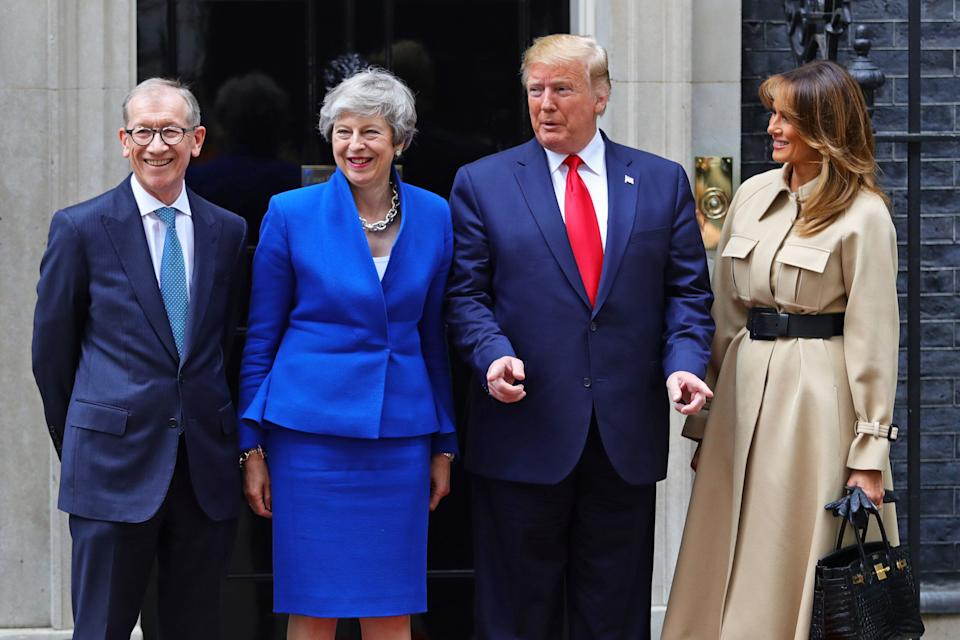 (left to right) Philip May and Prime Minister Theresa May welcoming US President Donald Trump and first lady Melania Trump to Downing Street, London, on the second day of his state visit to the UK. (Photo by Aaron Chown/PA Images via Getty Images)