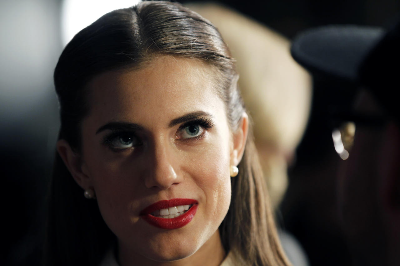 Actress Allison Williams speaks to the media before the Jason Wu Autumn/Winter 2013 collection show during New York Fashion Week February 8, 2013. REUTERS/Lucas Jackson (UNITED STATES - Tags: FASHION SOCIETY PROFILE HEADSHOT ENTERTAINMENT) - RTR3DIIB