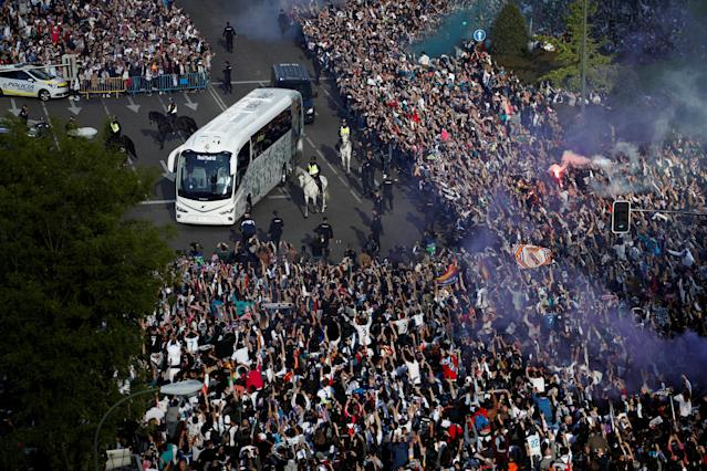 Soccer Football - Champions League Semi Final Second Leg - Real Madrid v Bayern Munich - Santiago Bernabeu, Madrid, Spain - May 1, 2018 Real Madrid team bus arrives before the match REUTERS/Juan Medina TPX IMAGES OF THE DAY