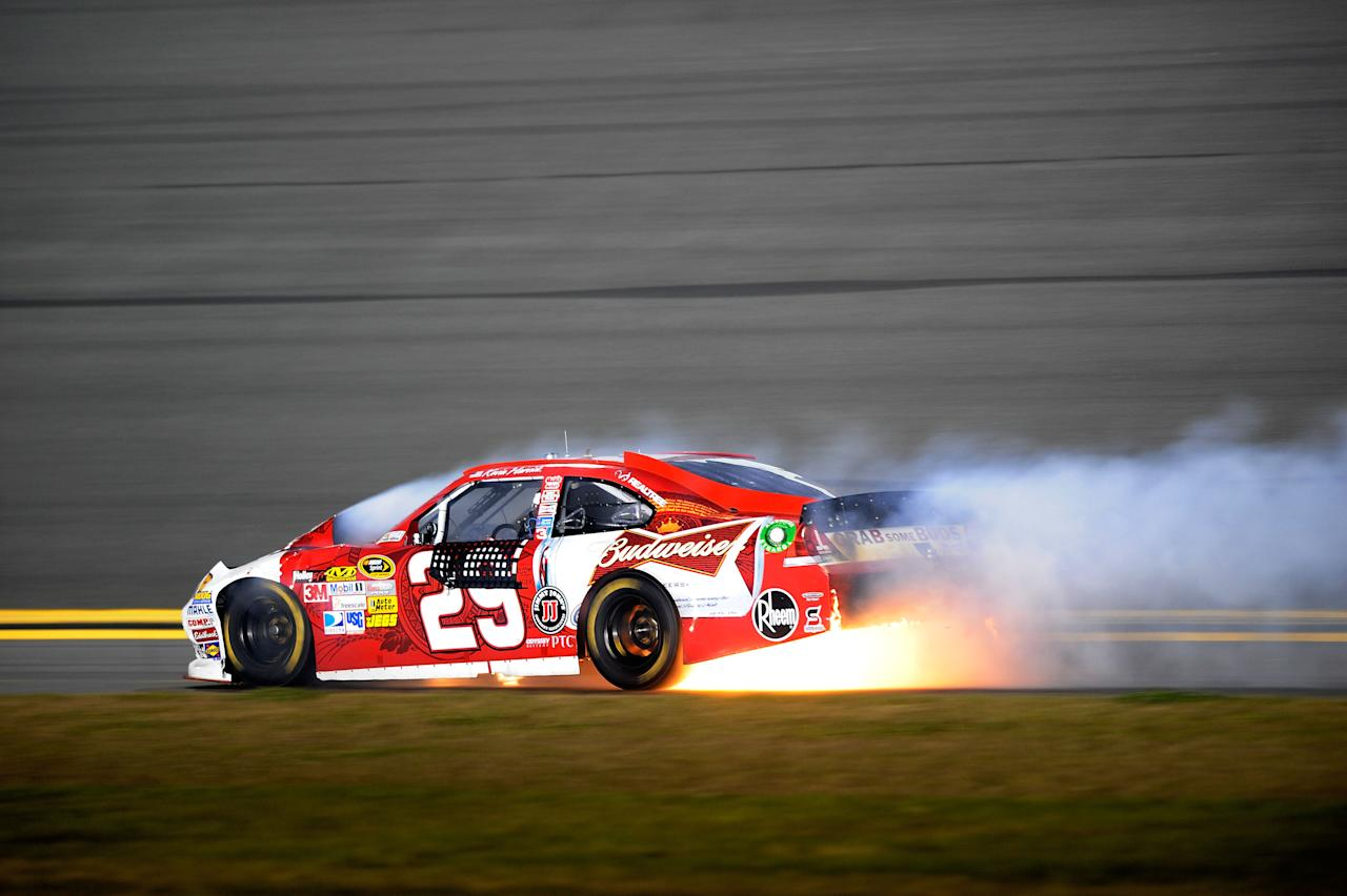DAYTONA BEACH, FL - FEBRUARY 18:  Kevin Harvick, driver of the #29 Budweiser Chevrolet, crashes during the NASCAR Budweiser Shootout at Daytona International Speedway on February 18, 2012 in Daytona Beach, Florida.  (Photo by Jared C. Tilton/Getty Images for NASCAR)