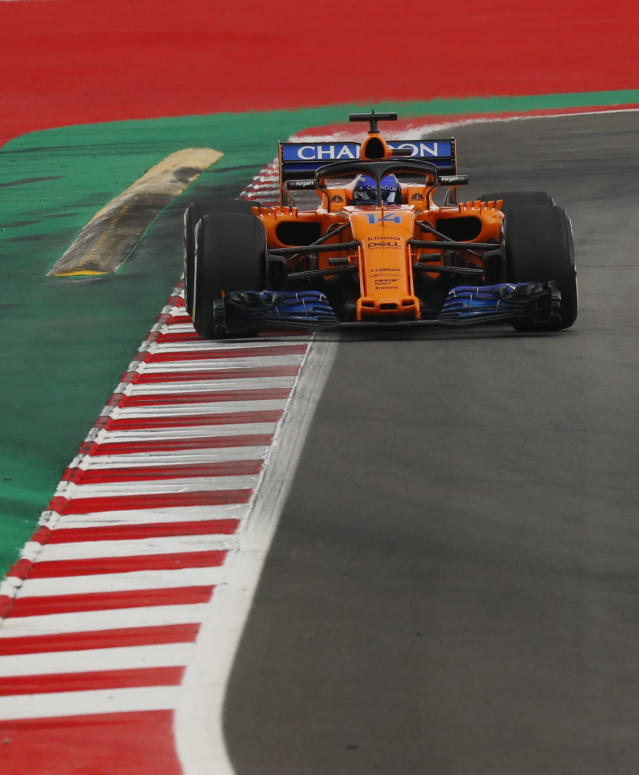 Mclaren driver Fernando Alonso of Spain steers his car during the qualifying session for the Spanish Formula One Grand Prix at the Barcelona Catalunya racetrack in Montmelo, Spain, Saturday, May 12, 2018. The Spanish Formula One Grand Prix will take place on Sunday. (AP Photo/Manu Fernandez)