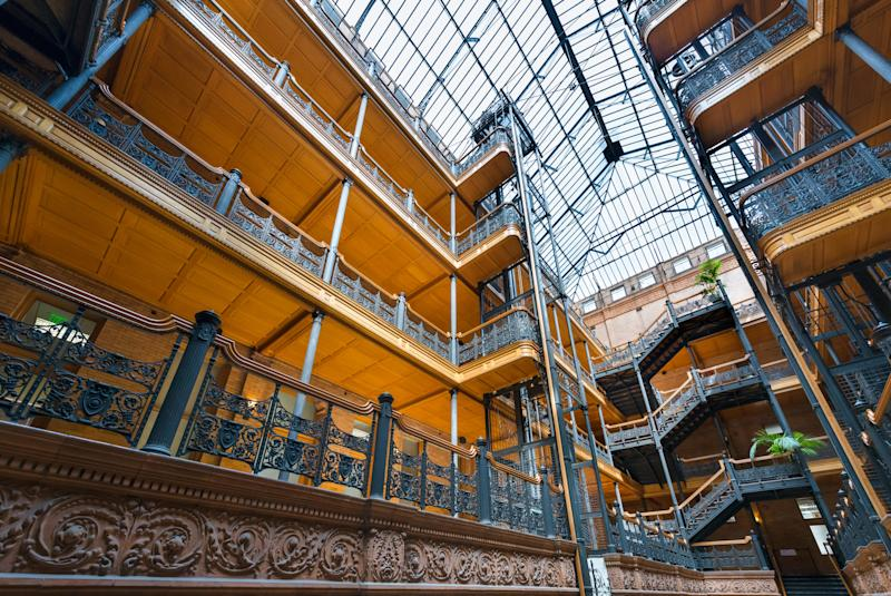 The interior of the magnificent Bradbury Building - Credit: Alamy