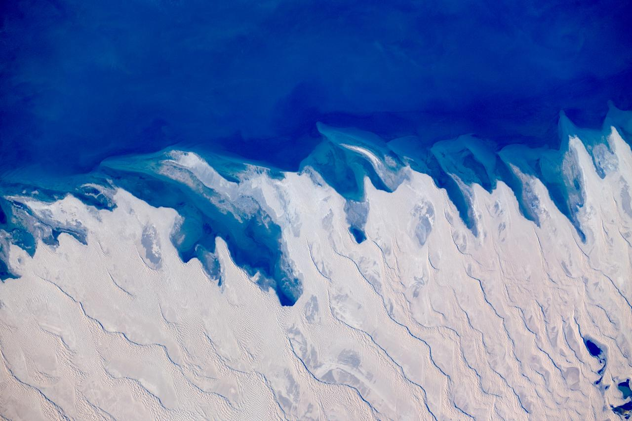 This was taken over Kazakhstan on the Caspian coast. Guy Laliberté compiled his images in a book entitled Gaia. It's available on <a>assouline.com</a>. (Photo: Guy Laliberté)