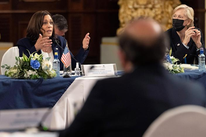 <p>Vice President Kamala Harris speaks with local officials in Guatemala.</p> (AP)