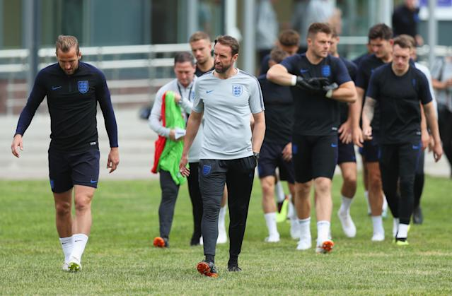England trained in front of supporters in an open session.