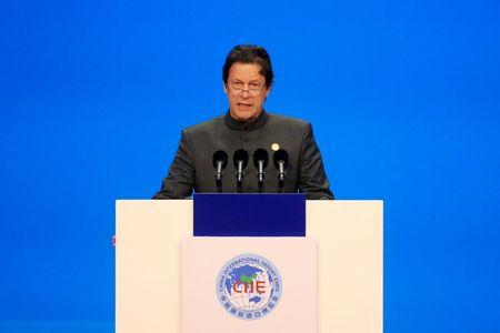 Pakistani Prime Minister Imran Khan speaks at the opening ceremony for the first China International Import Expo (CIIE) in Shanghai, China, November 5, 2018.  REUTERS/Aly Song/Pool/Files