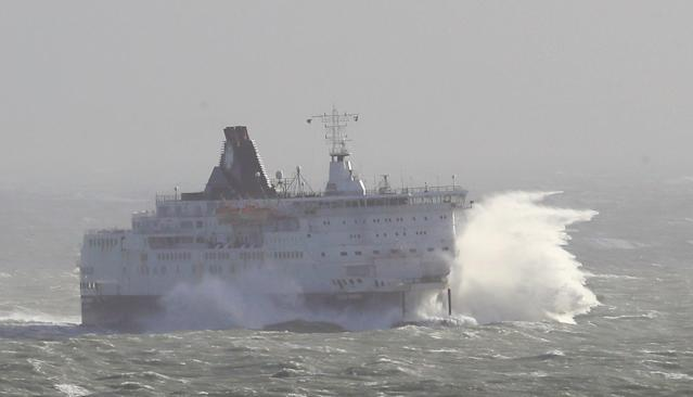 The DFDS Calais Seaways crashes through waves as high winds continue to effect ferry services at The Port of Dover in Kent. (PA)