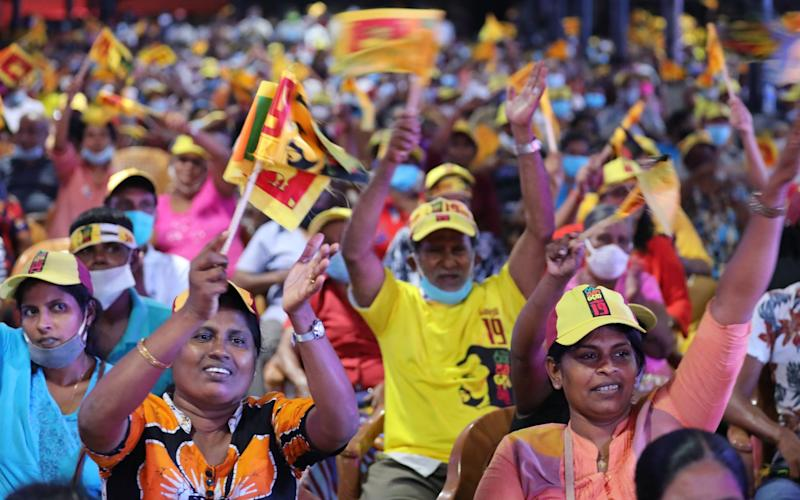 Supporters of the Rajapaksa's SLPP party at a campaign rally - CHAMILA KARUNARATHNE/EPA-EFE/Shutterstock