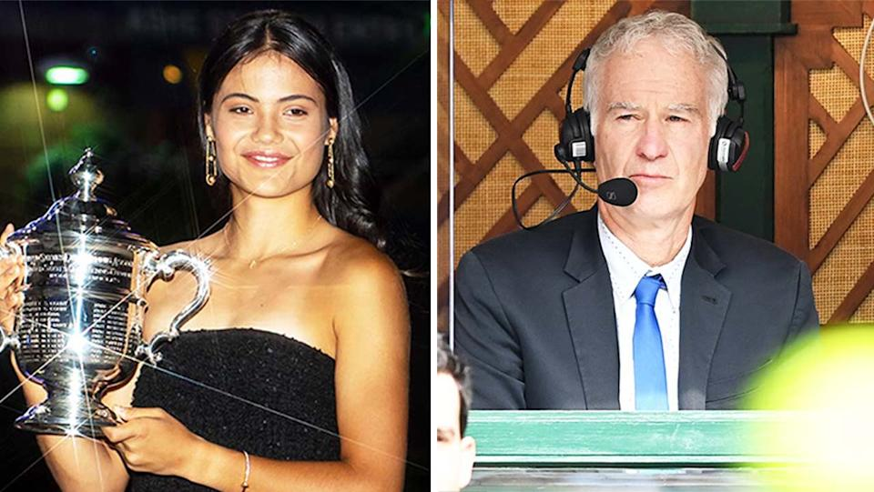 John McEnroe (pictured right) during commentary and (pictured left) Emma Raducanu with the US Open trophy.