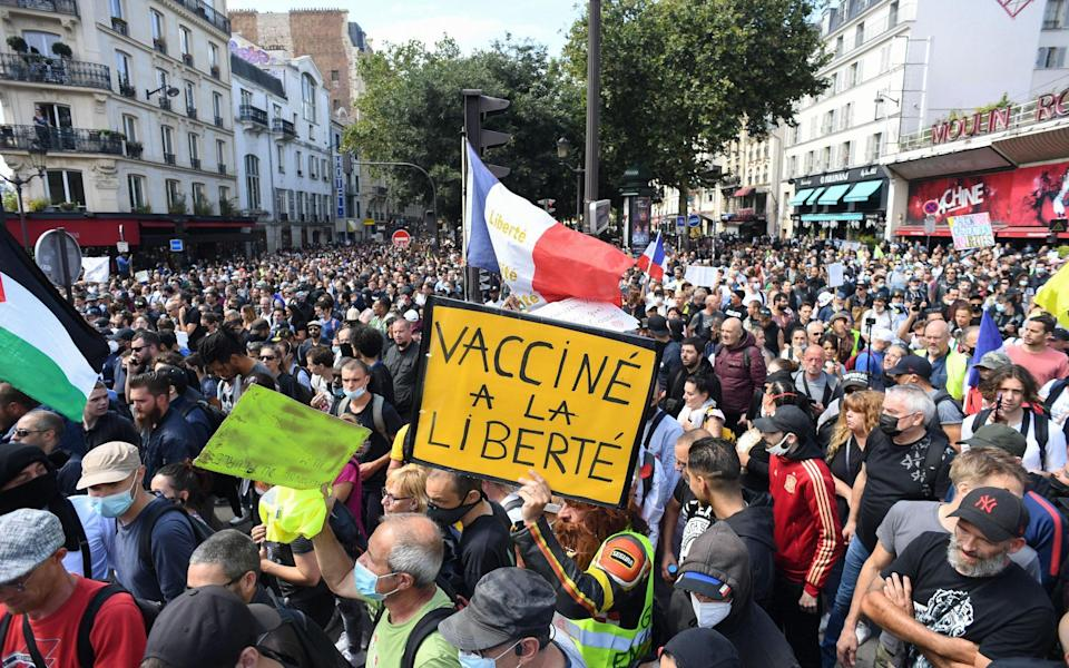 Protesters in Paris, opposing mandatory vaccination for health workers - Getty