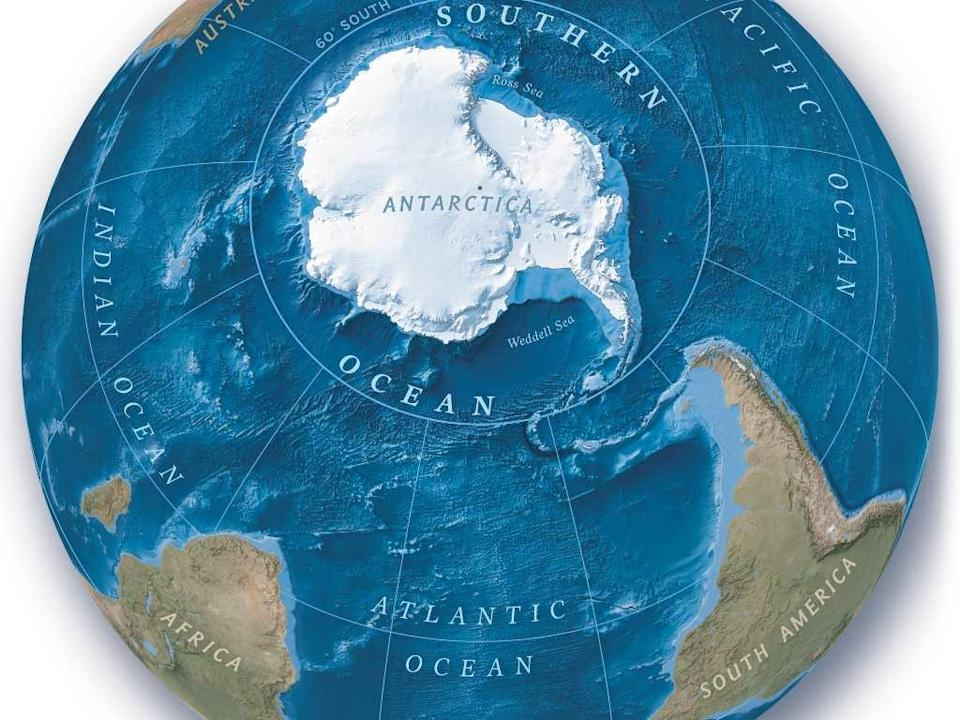 There are five oceans in the world the Atlantic, Pacific, Indian, Arctic and the Southern Oceans. Image credit: Matthew W. Chwastyk/ Soren Walljasper, NGM Staff. Eric Knight/NASA/JPL; Green Marble