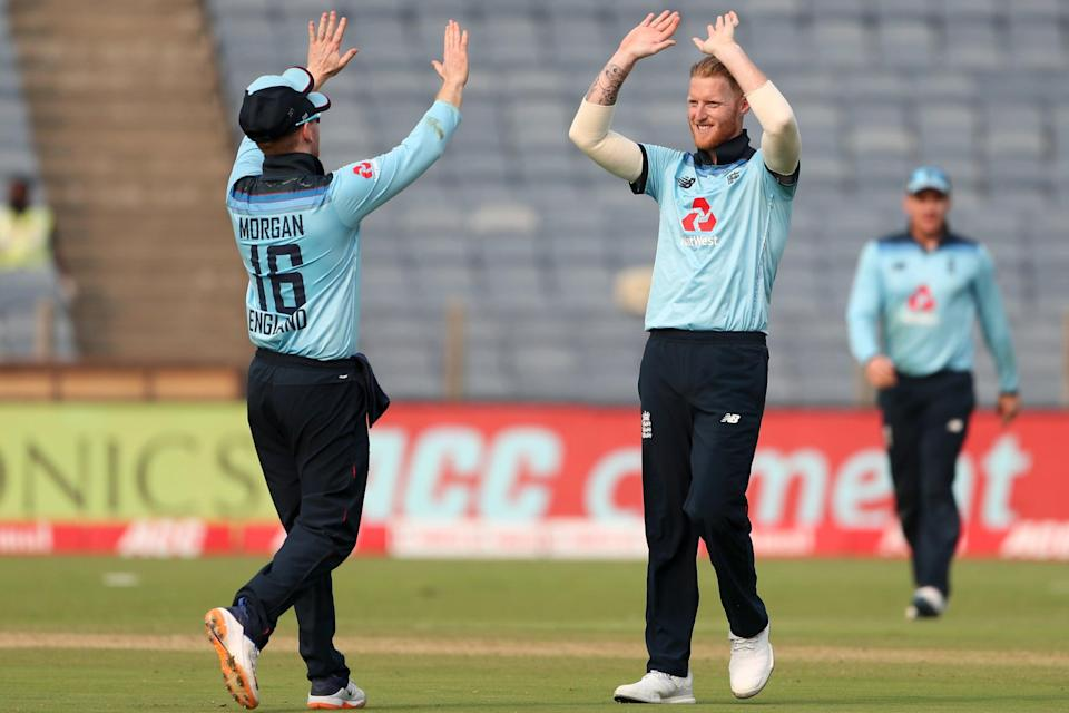 Ben Stokes and Eoin Morgan celebrate in India (Getty Images)