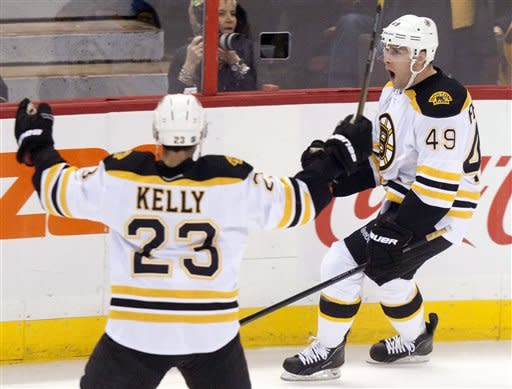 Boston Bruins right wing Rich Peverley, right, celebrates his first period-goal with teammate Chris Kelly during NHL hockey game action against the Boston Bruins in Ottawa on Wednesday, Dec. 14, 2011. (AP Photo/The Canadian Press, Adrian Wyld)