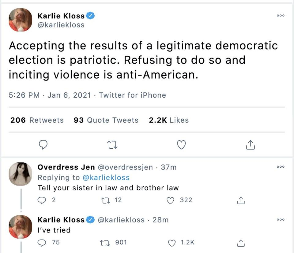 Ivanka Trump reacts to Karlie Klosss unexpected tweets about US Capitol breach