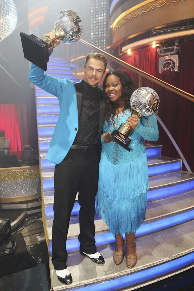 """<p>Derek won back-to-back years, with <em>Glee </em>star Amber Riley securing the second on season 17. You <em>have</em> to see their explosive and sassy <a href=""""https://youtu.be/-ynFWK3X8PY"""" rel=""""nofollow noopener"""" target=""""_blank"""" data-ylk=""""slk:freestyle"""" class=""""link rapid-noclick-resp"""">freestyle</a>.</p>"""