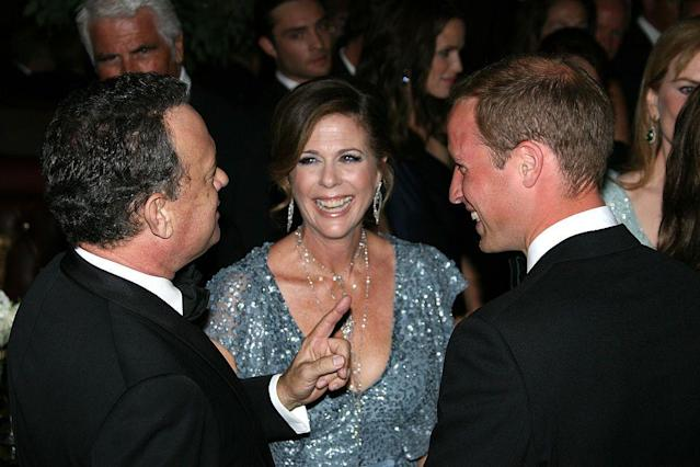 The actors chatted with Prince William (pictured) and Kate Middleton at the BAFTA