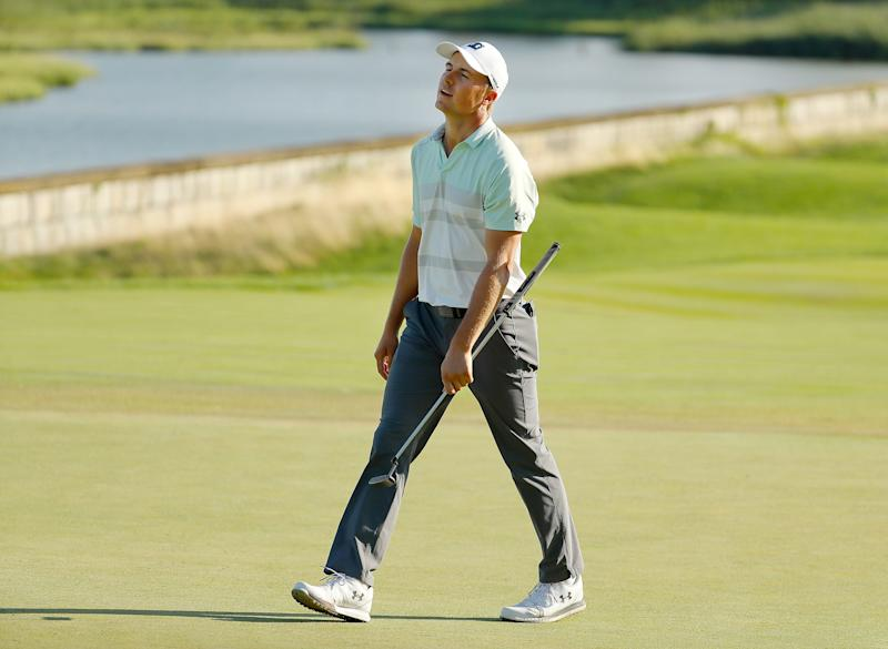 Jordan Spieth reacts with disappointment on the 18th green during the third round of 2019 The Northern Trust.