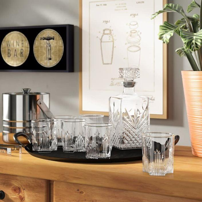 "You'll be sipping in style. <a href=""https://fave.co/2UxLXp0"" rel=""nofollow noopener"" target=""_blank"" data-ylk=""slk:Find the seven piece set on sale for $22 at Wayfair"" class=""link rapid-noclick-resp"">Find the seven piece set on sale for $22 at Wayfair</a>."