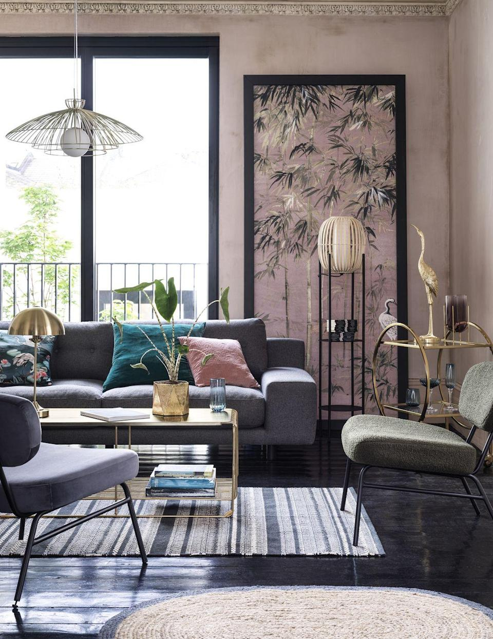 """<p>For the season ahead, Habitat is tapping into Japanese influence, such as accents of bamboo, rattan and crane prints. Dramatic dashes of teal sit alongside a palette of pink, while accessories mirror the understated luxury of boutique <a href=""""https://www.housebeautiful.com/uk/decorate/g36405117/coffee-table-books/"""" rel=""""nofollow noopener"""" target=""""_blank"""" data-ylk=""""slk:interior design"""" class=""""link rapid-noclick-resp"""">interior design</a>. <br></p>"""