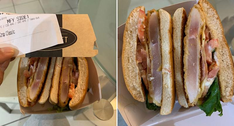 A picture of a Classic Chicken burger also purchased by Joseph Kim. His daughter had been eating this burger but also found the meat inside to be pink.