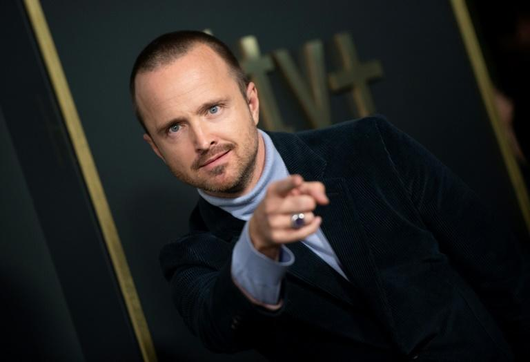"""Aaron Paul, who plays convicted murderer Warren Cave, says his swastika-tattooed character forces viewers to recognize that """"not everything is as black and white as it may seem"""" (AFP Photo/VALERIE MACON)"""