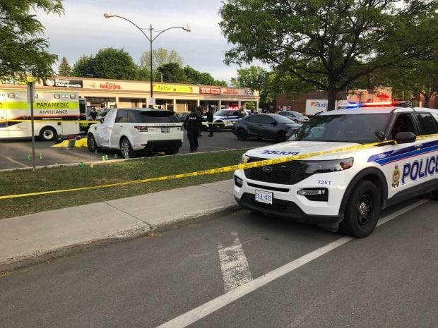 Police investigate a drive-by shooting on Alta Vista Drive on May 28, 2021, that left two men dead and a third man suffering from undisclosed injuries. (Mathieu Thériault/CBC - image credit)