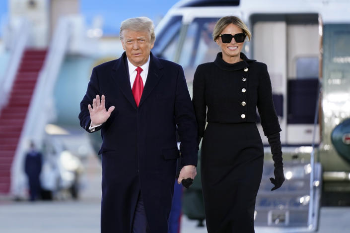 President Donald Trump and first lady Melania Trump arrive on Marine One before boarding Air Force One at Andrews Air Force Base, Md., Wednesday, Jan. 20, 2021.(AP Photo/Manuel Balce Ceneta)