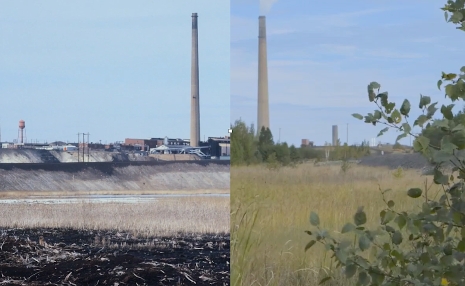 Two photographs, one showing barren landscape near smelters and another with grasses.